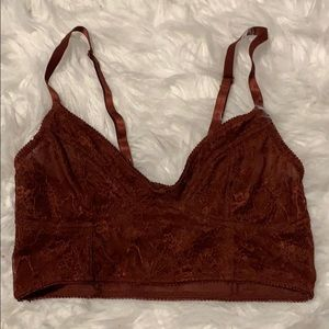 Maroon/ burnt orange Bralette lace